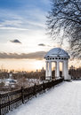 Arbor on the quay in the heart of city spring snowy evening russia yaroslavl Royalty Free Stock Image