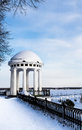 Arbor on the quay in the heart of city spring snowy evening russia yaroslavl Stock Image