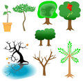 Arboreal Elements - Tree Icons Royalty Free Stock Photo