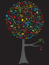 Arbre de bruit de notes musicales de couleur Photo libre de droits