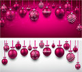 Arc background with magenta christmas balls abstract vector illustration Stock Photo