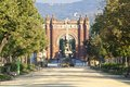 Arc de triomf in barcelona spain august early morning the parc la ciutadella people do sports the park the background the Stock Photo