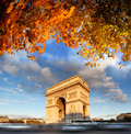 Arc de Triomphe in autumn, Paris, Stock Photo