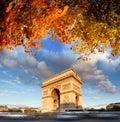 Arc de Triomphe in autumn, Paris, Royalty Free Stock Photo