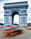 Arc de triomphe de l etoile triumphal arch paris france by night Stock Photos