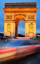 Arc de triomphe de l etoile triumphal arch paris france by night Royalty Free Stock Photo