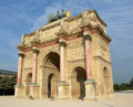 The arc de triomphe du carrousel built in for napoleon paris france Royalty Free Stock Photo