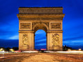 Arc de Triomphe at night, Paris, France. Royalty Free Stock Images
