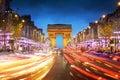 Arc de triomphe Paris city at sunset Royalty Free Stock Images