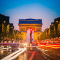 Arc de triomphe paris at dusk Stock Photo