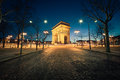 Arc de triomphe paris by night Royalty Free Stock Images