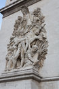 Arc de triomphe sculpture relief on the leg of the in paris france Royalty Free Stock Photo