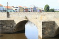 Arc of Stone Bridge in Pisek Royalty Free Stock Photo