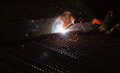 Arc welding and welding fumes in manufacturing factory Royalty Free Stock Photography