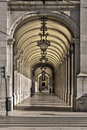 Arcade in lisbon at downtown of baixa district Royalty Free Stock Images