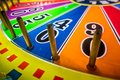 Arcade video games and lights and spinning wheels Royalty Free Stock Photo