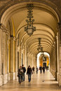 Arcades. Gallery surrounding Palace Square or Commerce Square. Lisbon. Portugal Royalty Free Stock Photo