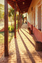 Arcades on a street in the village Concepcion, jesuit missions in the Chiquitos region, Bolivia Royalty Free Stock Photo