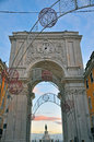 Arch of augusta christmas weeks in lisbon portugal Stock Images
