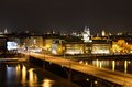 The arch bridge over river vltava in prague light traffic highway by night wonderful city of construction of started and finished Royalty Free Stock Photography