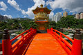 Arch Bridge and Pavilion in Nan Lian Garden, Hong Kong. Stock Photos