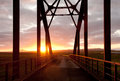 Arch bridge in sunset Royalty Free Stock Photo
