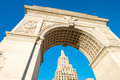 Arch and buildings of washington square park new york city Stock Images