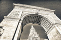 Arch and buildings of washington square park new york city Royalty Free Stock Images