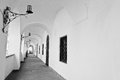 Arch of candlesticks at the castle. Black and white Royalty Free Stock Photo