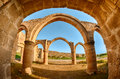 Arch and columns at agios sozomenos temple nicosia district cyprus Royalty Free Stock Photography