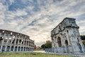 Arch of constantine in rome italy arco di costantino a triumphal located between the colosseum and the palatine hill Royalty Free Stock Photos