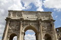 The arch of constantine is a triumphal arch in rome situated between the colosseum and the palatine hill italy Royalty Free Stock Image