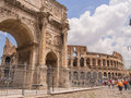 Arch of constantine is a triumphal in rome situated between the colosseum and the palatine hill Royalty Free Stock Photography