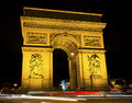 Arch de triumph paris france of at night Stock Photos