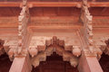 Arch entrance ornately decorated with carvings red fort agra india ornate carved stone decorates all details of the Stock Photo
