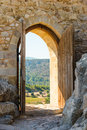 Arch in the fortress old wooden with open doors Stock Images
