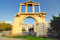 Arch of Hadrian with Acropolis  in  background Stock Photos