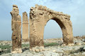 Arch and minaret on the ruins of great mosque in harran turkey Royalty Free Stock Photos