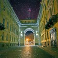 Arch over Galernaya street. Saint-Petersburg. The flag of the Russian Federation on the roof.