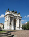 Arch of peace on blue sky milan italy frontal facade view arco della pace in a beautiful day with lombardy europe Royalty Free Stock Images