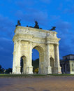 Arch of peace milan italy frontal facade view arco della pace at dusk lombardy europe Stock Photography