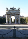 Arch of peace milano italy the in the simplon square in Stock Photography