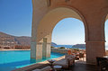 Arch pool terrace on summer resort (Greece) Stock Image