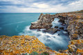 The arch rock formation near tyulenovo long exposure shot bulgaria Royalty Free Stock Photography