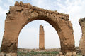 Arch and ruins of minaret in harran turkey Stock Photo