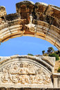 Arch of temple of hadrian in ephesus Royalty Free Stock Photo