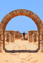 Arch to the sea ancient caesarea mediterranean israel Stock Images
