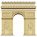 Arch of triumph isolated on the white paris france Royalty Free Stock Photo