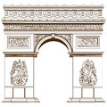 Arch of triumph isolated on the white paris france Royalty Free Stock Image