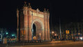Arch of triumph night view de a memorial built in the neo mudejar style as main access gate for the barcelona world fair Stock Photography